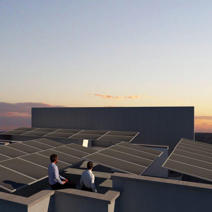 פיזור יחידות סולאריות על גג וילה ב